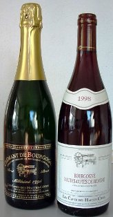 Burgundy wine bottles